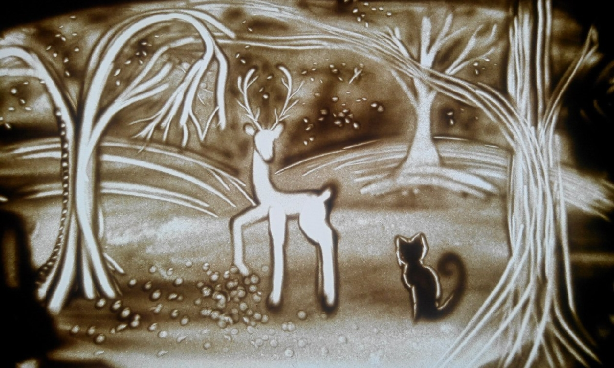 Детские рисунки песок
