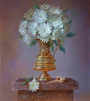 Хризантема кустовая - фото букет хризантем в вазе