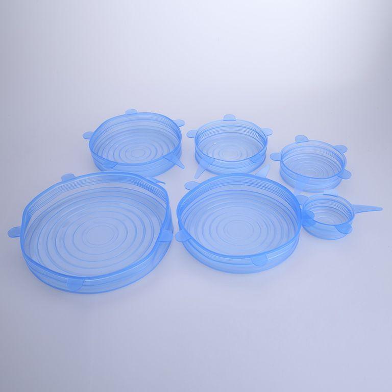Набор силиконовых крышек для хранения продуктов 6 шт., фото 1