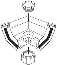 Кронштейн желоба ПВХ Murol U-110 (коричневый) - фото Универсальная воронка UNI-55