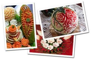 Набор ножей для карвинга в кейсе, ножи для карвинга, карвинг из овощей и фруктов - фото Примеры фигурной нарезки овощей, выполненной с помощью набора для карвинга
