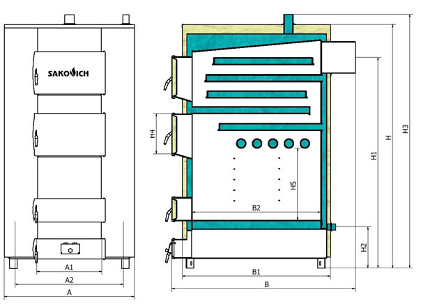 Твердотопливный котел Pramen (Sakovich) WG max plus  70 kW - фото котел seria WG Max - схема котла