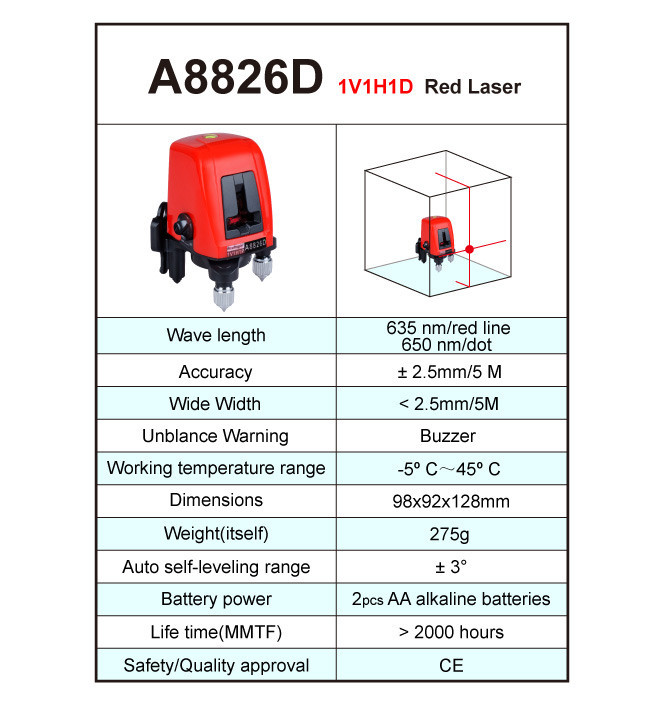 Лазерный уровень AcuAngle A8826D строительный - фото HTB1tFEcNVXXXXcAXFXXq6xXFXXXK