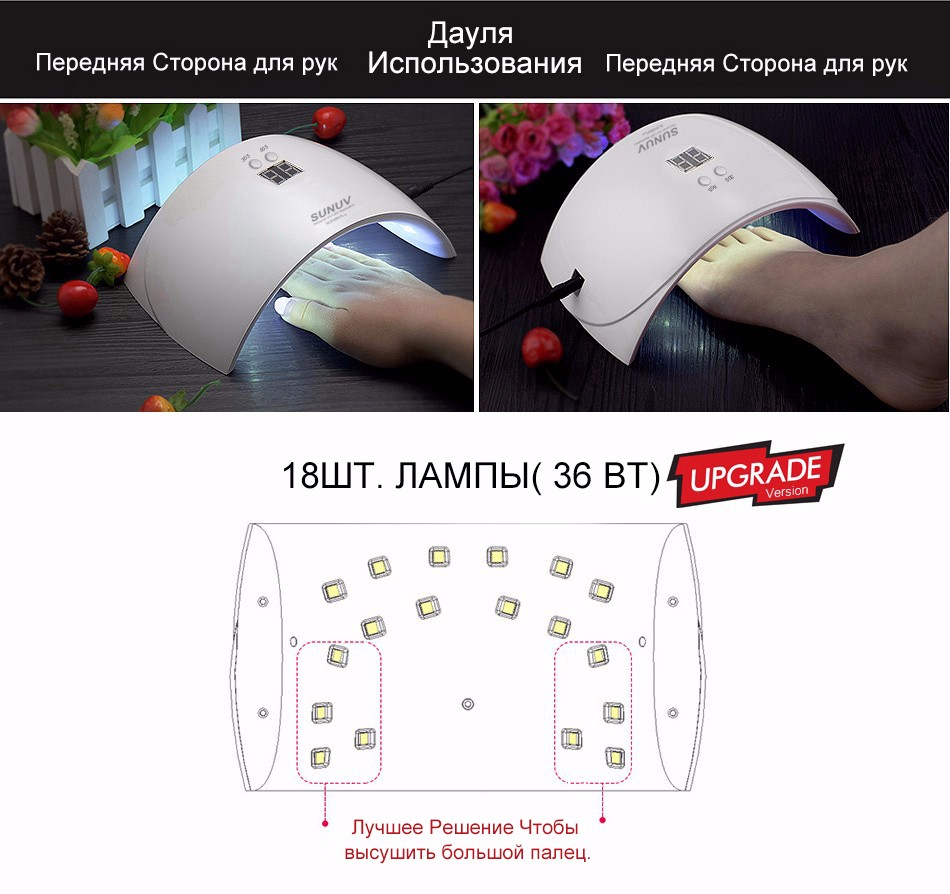 Лампа для сушки ногтей SUNUV SUN 9X Plus 36w с дисплеем - фото 6
