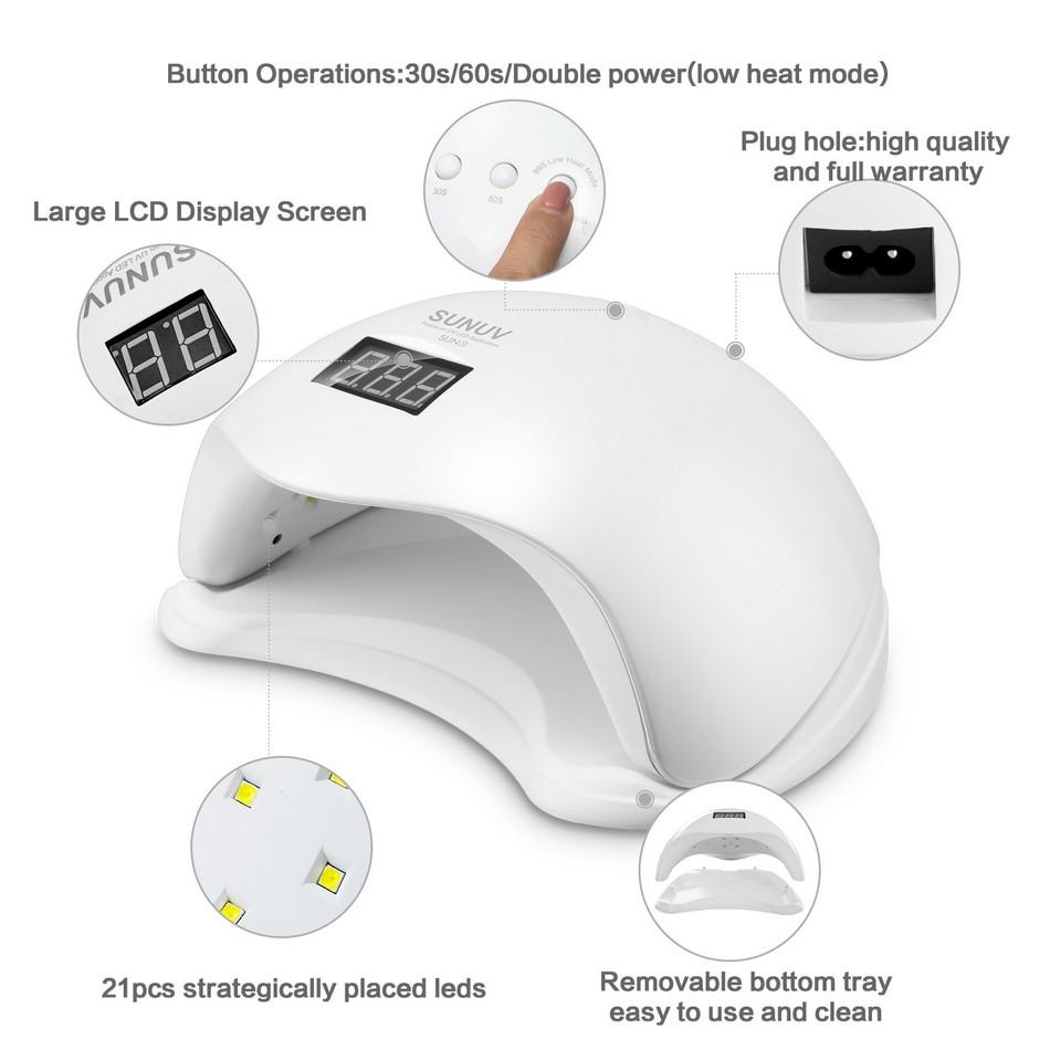 Лампа для маникюра SUNUV SUN 5 48W с дисплеем led - фото 7-