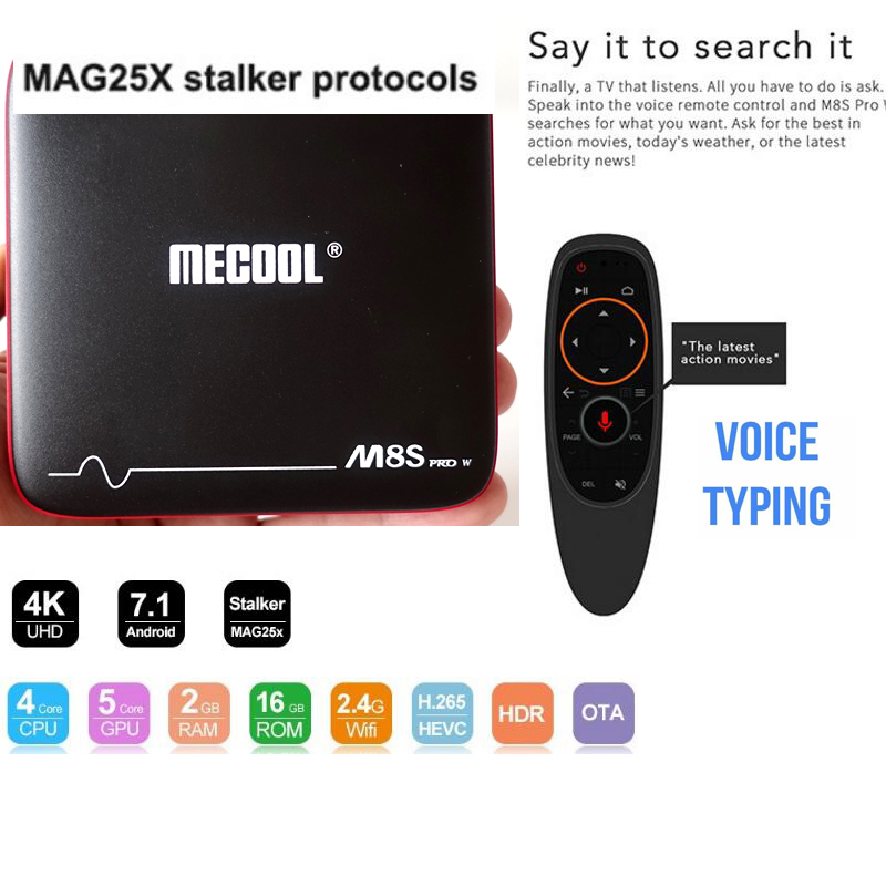 Смарт ТВ приставка Mecool M8S PRO W 2/16 с голосовым управлением tv box на андроид - фото -TV-Box-Android-7-1-vs-x96-mini-stalker-ma-g254-meecool-M8S-PRO-W.jpg