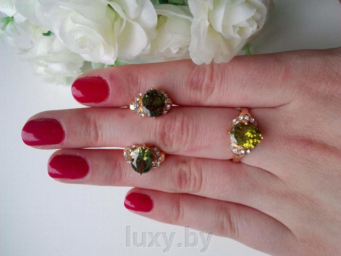 кольцо+серьги под золото