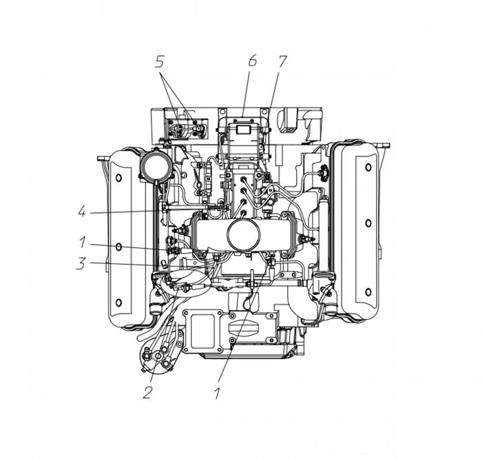 Расположение датчиков на двигателе