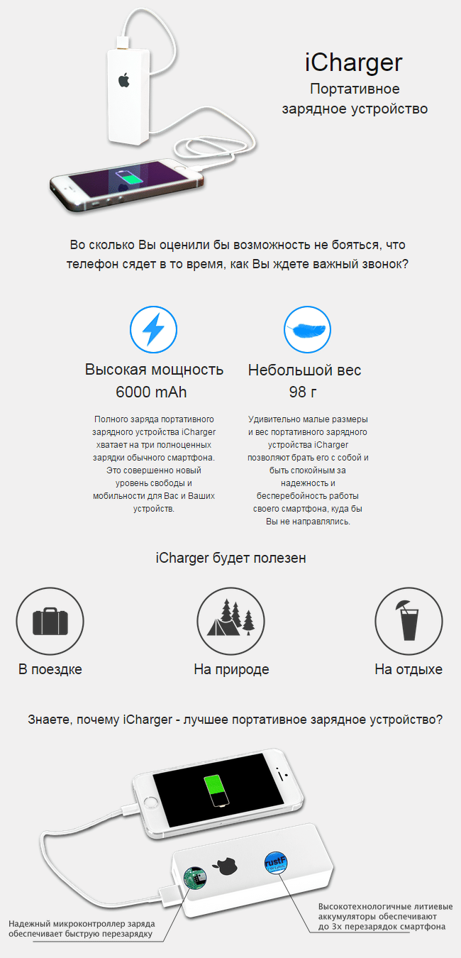 Портативное зарядное устройство iCharger для iPhone - фото Зарядное устройство iCharger