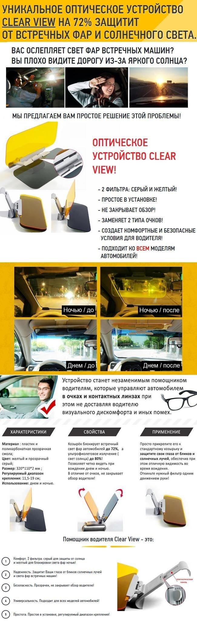 Козырек Clear View для автомобиля - фото Антибликовый козырек Clear View