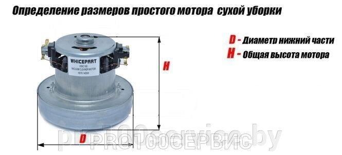 Высота двигателя измеряется с учетом юбки на всасывающем отверстии (или без нее, если таковая отсутствует) и учетом подшипника. Диаметр двигателя измеряется в самом большом месте двигателя.