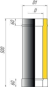 Труба двустенная L-500мм - фото pic_a5e30f79035b884_700x3000_1.jpg