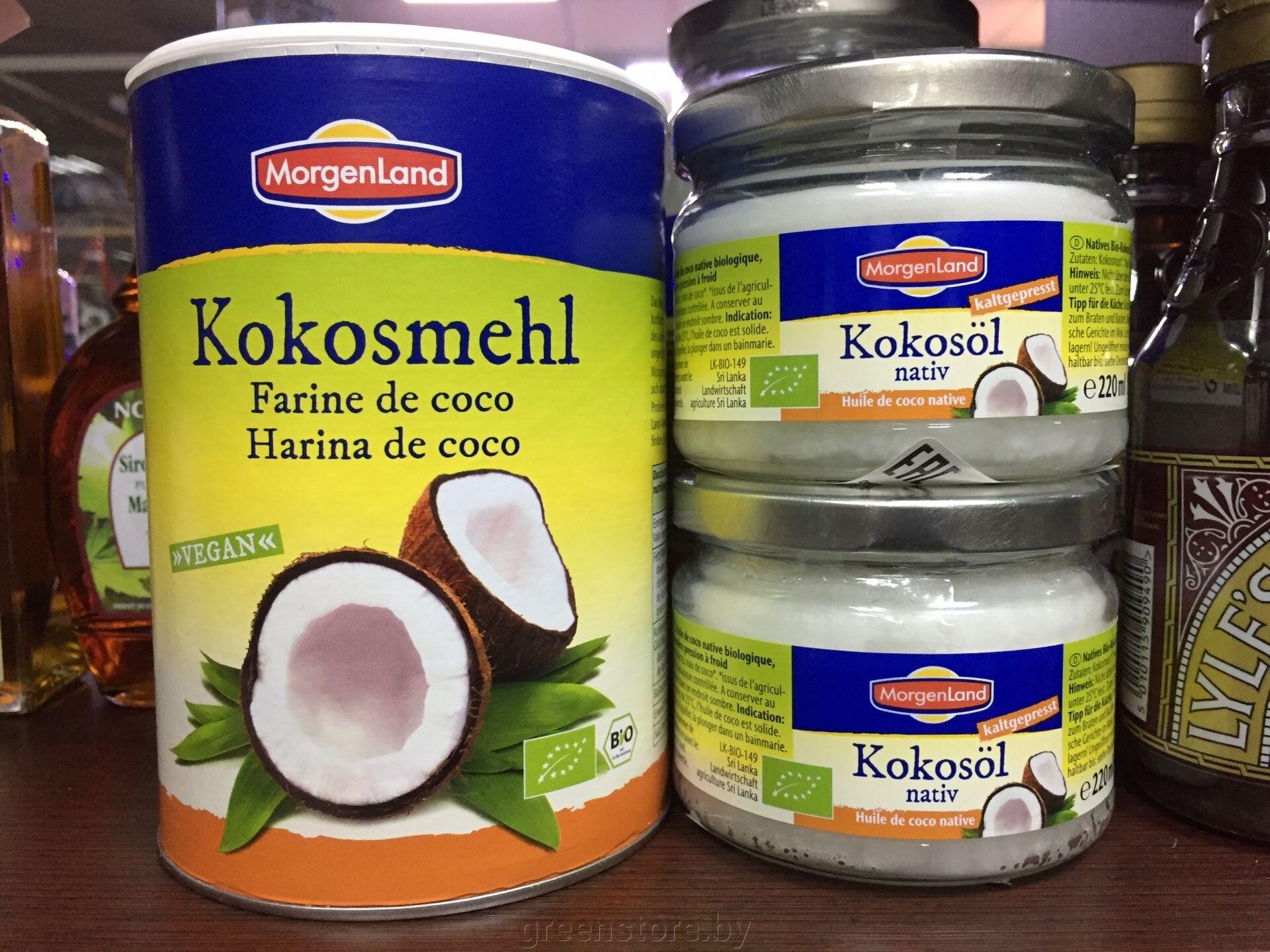 Кокосовое масло, кокосовая мука.