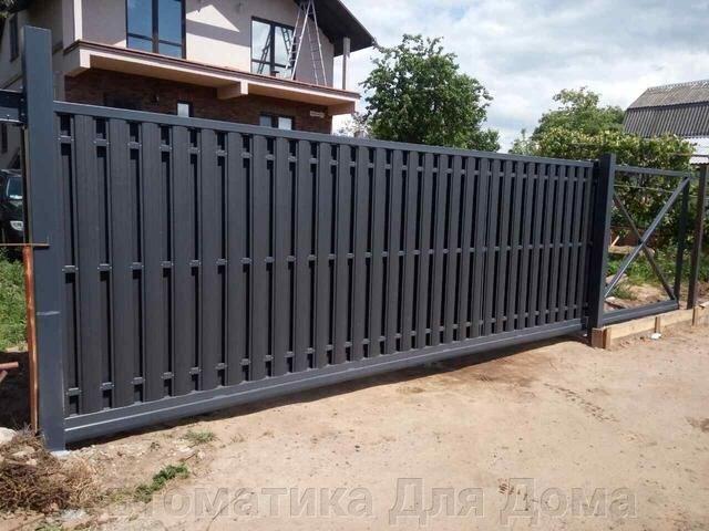 Откатные ворота с заполнением из металлоштакетника