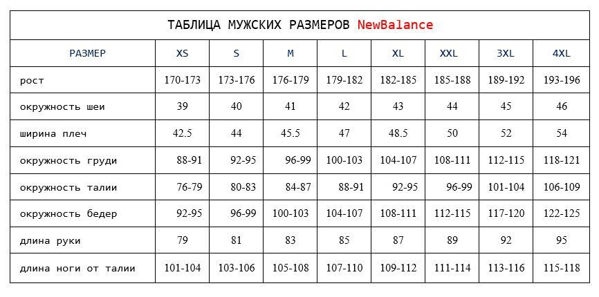 ТАБЛИЦА МУЖСКИХ РАЗМЕРОВ NewBalance