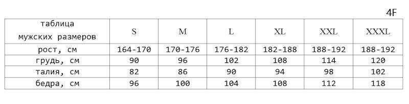 таблица мужских размеров 4F