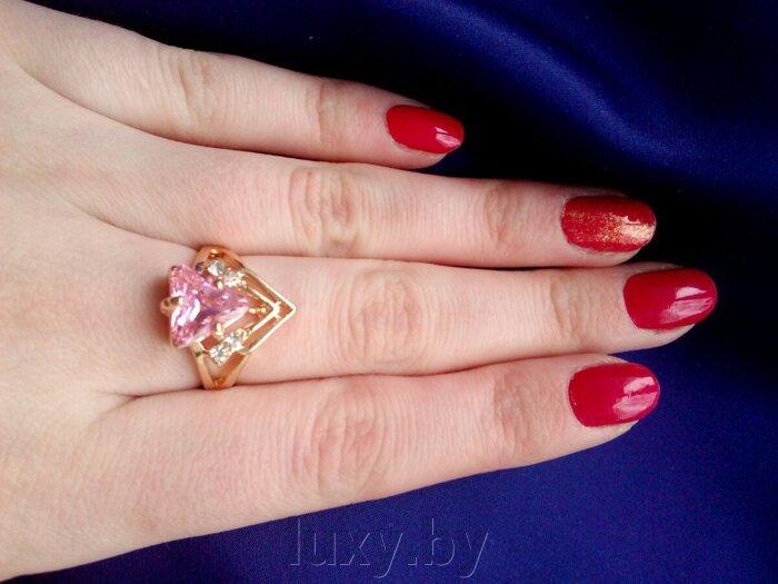 Кольцо С 24 - фото кольцо с розовым камнем
