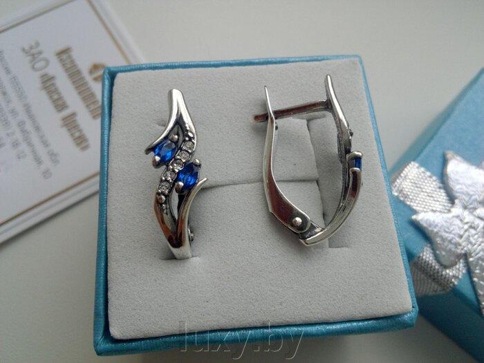 Серьги с синими фианитами, Красная пресня серебрение, арт.3488408Сп - фото pic_29948a071b2cb2e_700x3000_1.jpg