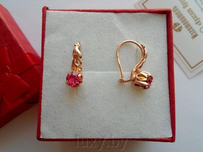 Серьги с розовым камушком, арт.346441рч - фото pic_c5cfef9d99a510f_700x3000_1.jpg