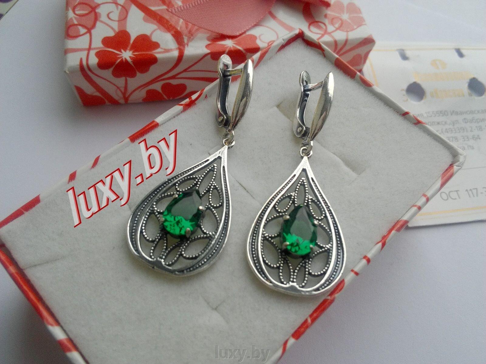 Серьги серебрение Красная пресня c зелёными камнями, арт.3488250-7 - фото pic_009510aa188b2b8_1920x9000_1.jpg
