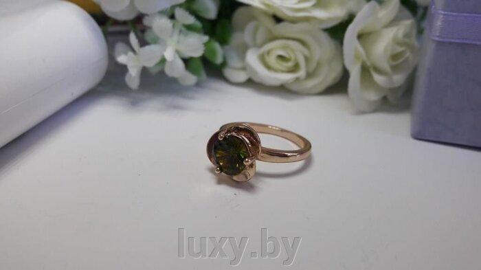 Кольцо С 9 - фото кольцо с зеленым фианитом