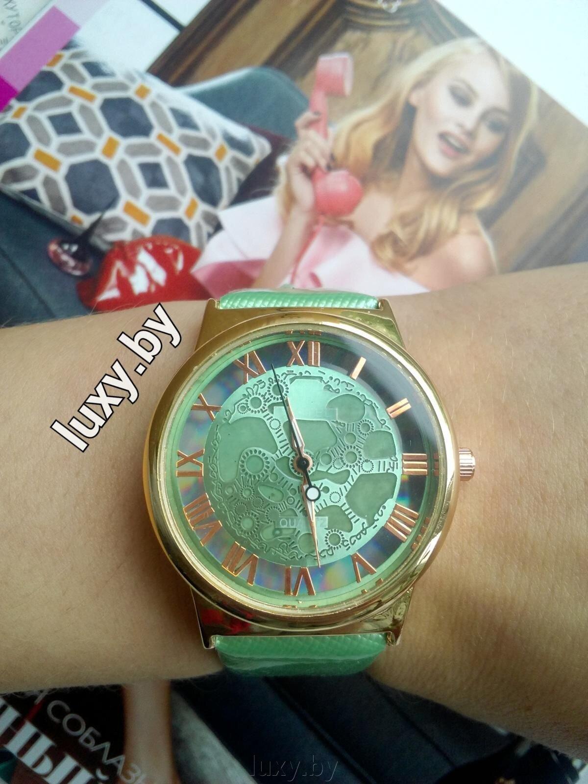 Часы наручные женские, прорисованные цифры, ремешок зелёный, Н-3 - фото pic_9b7893ee13b9ee0_1920x9000_1.jpg