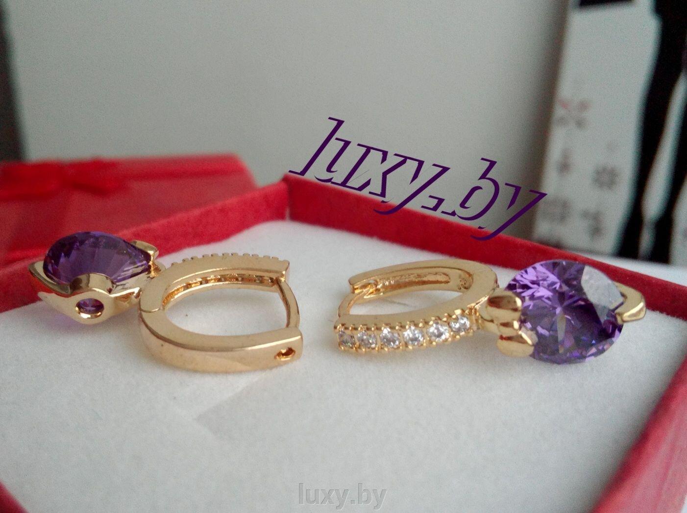 Серьги с фиолетовыми фианитами, Xuping, арт. EG-166 - фото pic_c6223b68e4b98e7_1920x9000_1.jpg