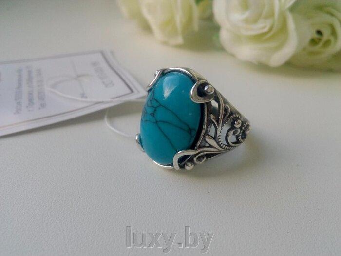 Кольцо 2437390Бп - фото кольцо с бирюзой