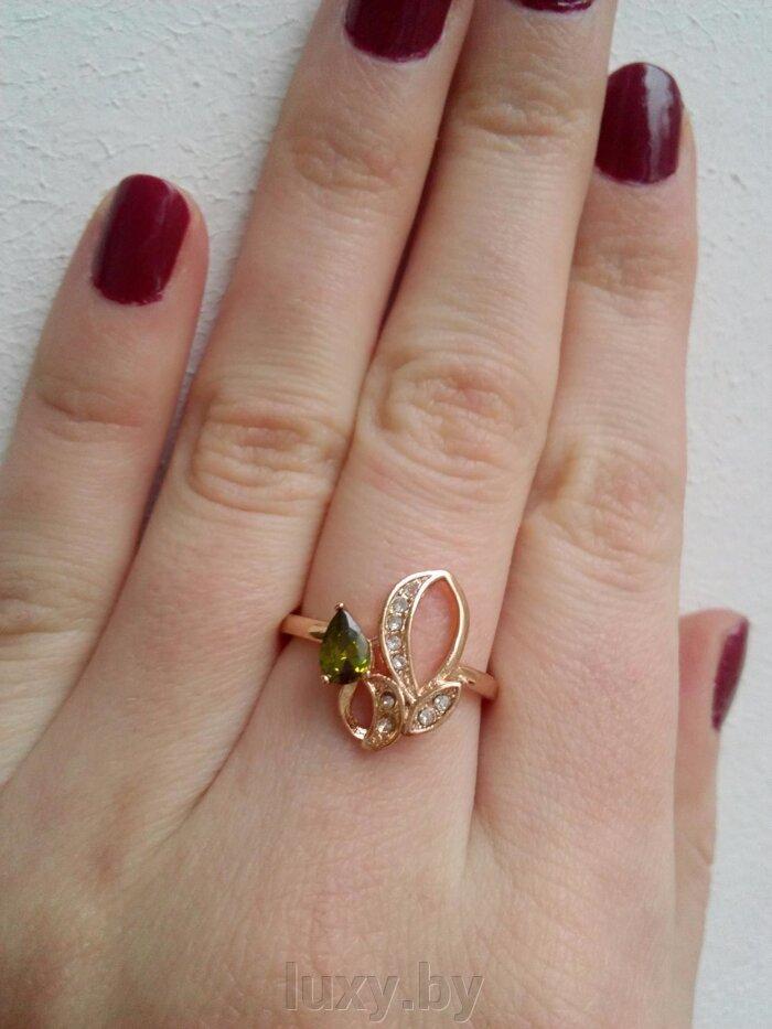 Кольцо С 15 - фото кольцо с зелеными фианитами