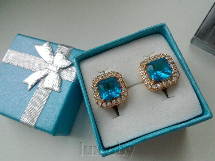 Серьги EG 65 - фото серьги с голубыми камнями