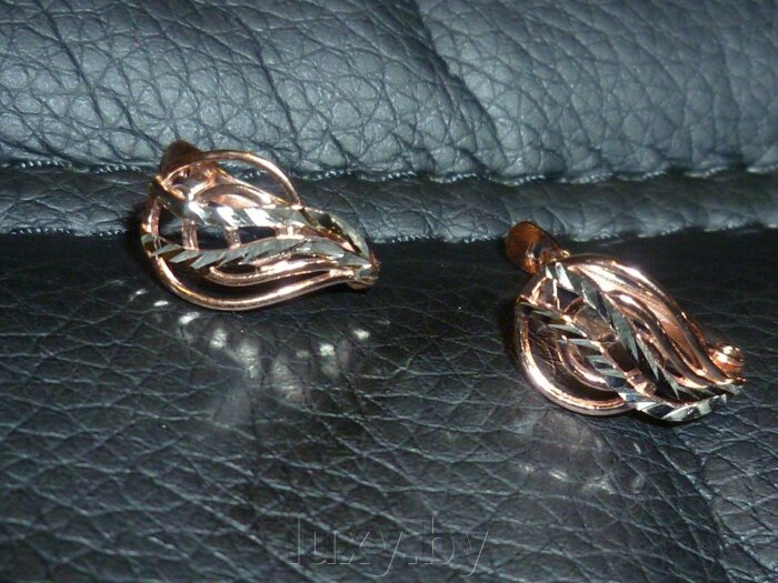 Серьги с алмазной гранью Красная пресня , золочение арт.3406919 - фото Серьги 3406919-5