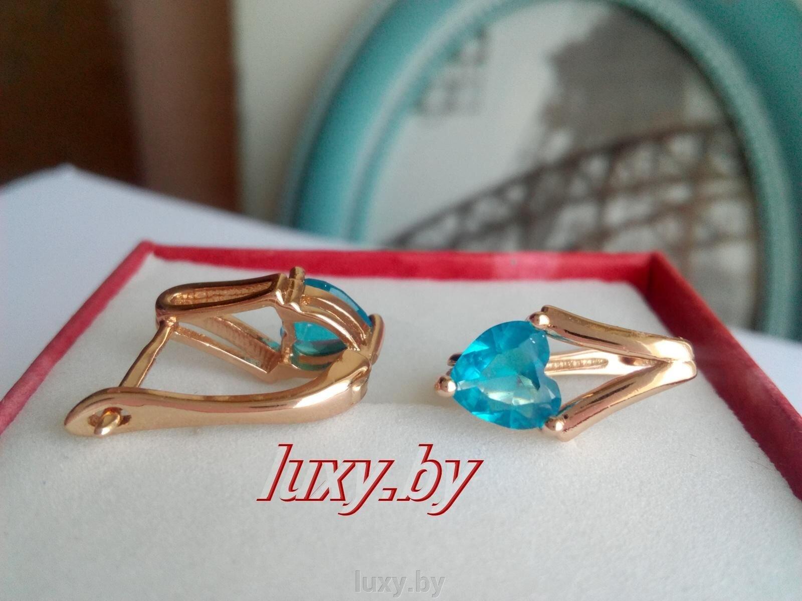 Серьги с голубыми фианитами золочение Xuping, арт. C311 - фото pic_6a0db460d5506b2_1920x9000_1.jpg