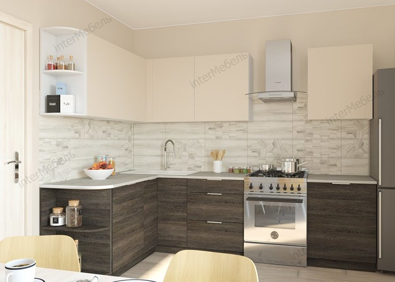 Кухня угловая, Микс (150 см/250-270 см), бежевая/венге мали - фото pic_f99e752b217bcefa3221c637b5cb35ac_1920x9000_1.jpg