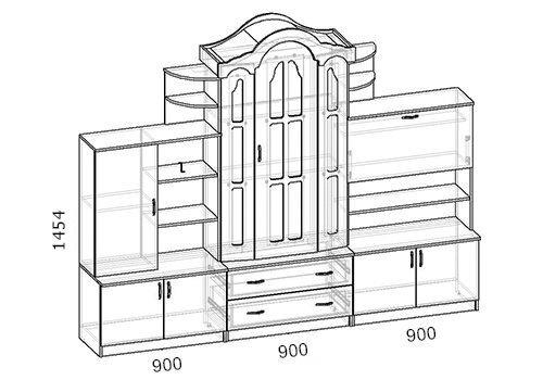 Стенка, Фараон-2, венге светлый (270 см) - фото pic_190b511a4e6581b_1920x9000_1.jpg