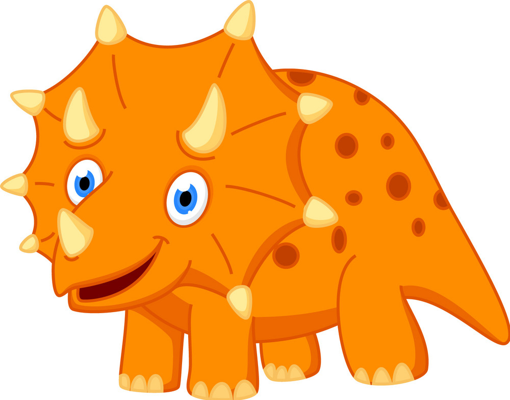 Трицератопс оранжевый взрослый - фото cute-dinosaur-cartoon-vector-13630919.jpg