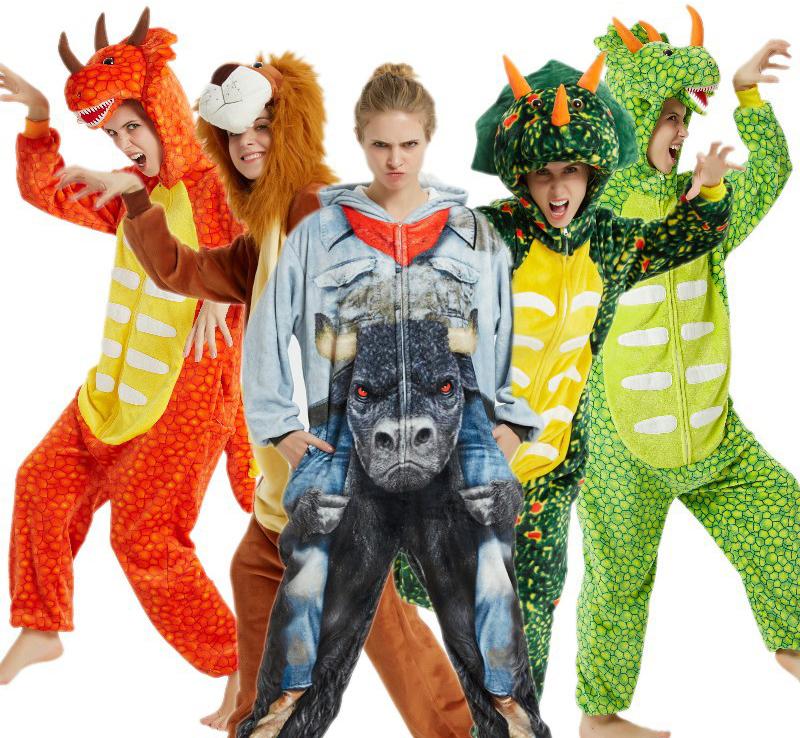 Трицератопс оранжевый взрослый - фото men-dinosaur-lion-pajamas-Mascot-winter-hooded.jpg