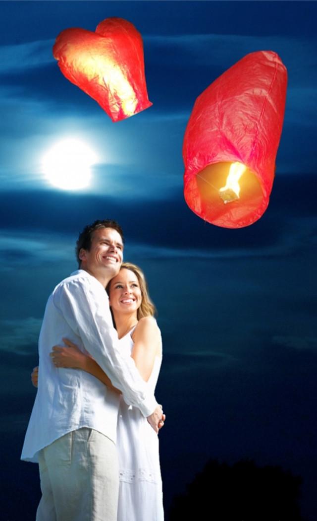 Небесный фонарик  Сердце желаний ( цвет красный ) - фото 2