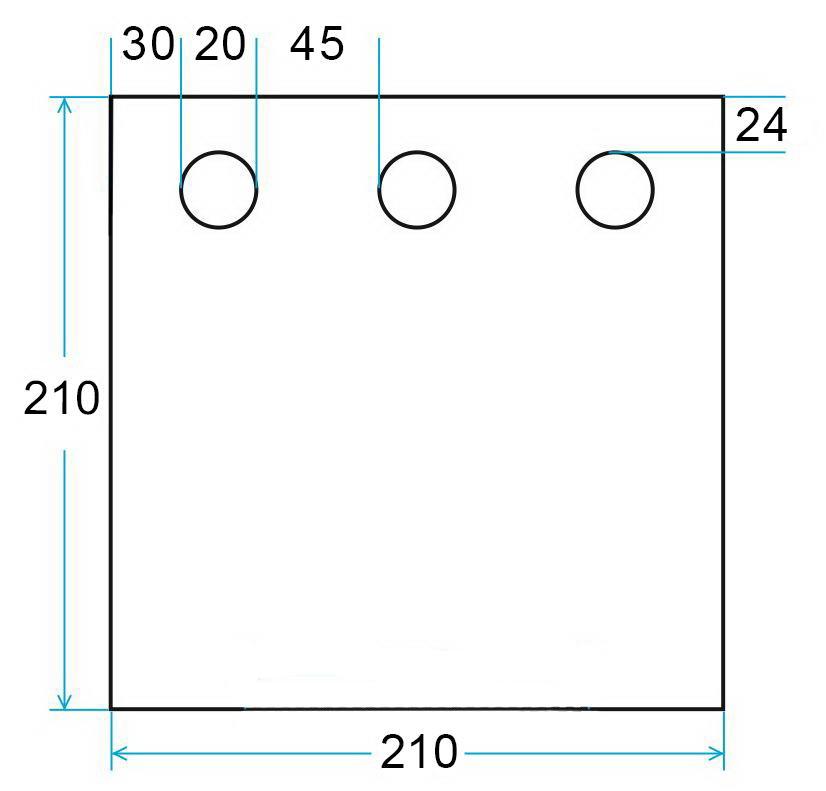 Схема дно гидроизоляционное ЛОТОС Куб 201х210 с отверстиями под лунки