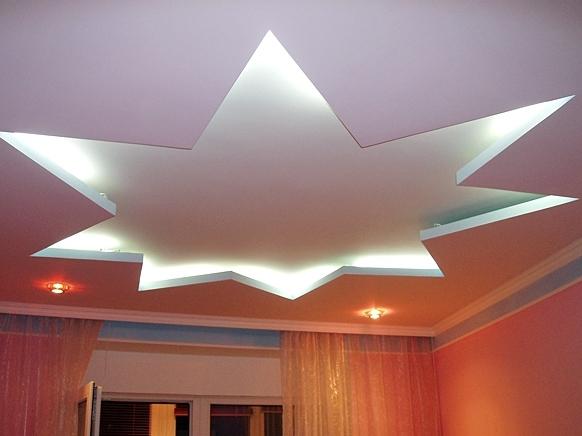 Пример звезды из гипсокартона на потолке